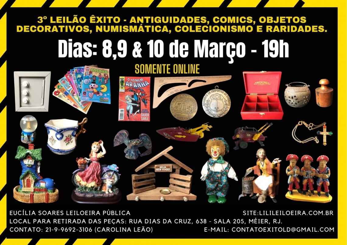 3º Leilão Êxito - Antiguidades, Comics, Objetos Decorativos, Numismática, Colecionismo e Raridades.