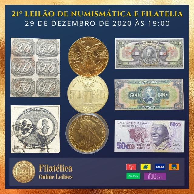 21º LEILÃO DE NUMISMÁTICA E FILATELIA - FILATÉLICA ONLINE LEILÕES
