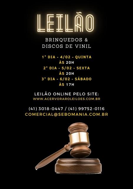 III LEILÃO SEBOMANIA: DISCOS DE VINIL E BRINQUEDOS