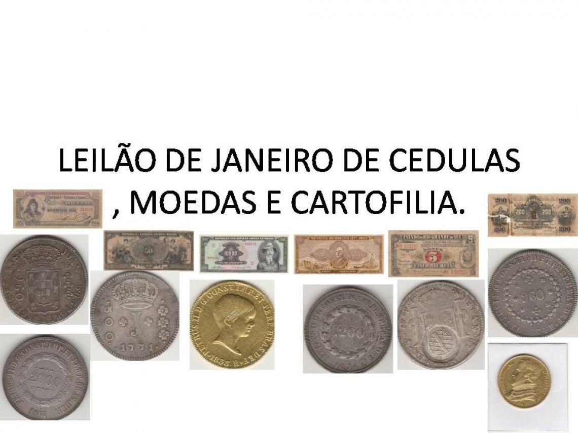 LEILÃO DE JANEIRO DE CEDULAS E MOEDAS, FAUSTÃO NUMISMATICA