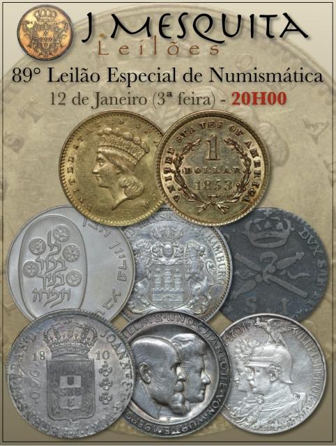 89º LEILÃO ESPECIAL J.MESQUITA  - COLEÇÃO MOEDAS DE OURO E PRATA DO BRASIL E ESTRANGEIRA