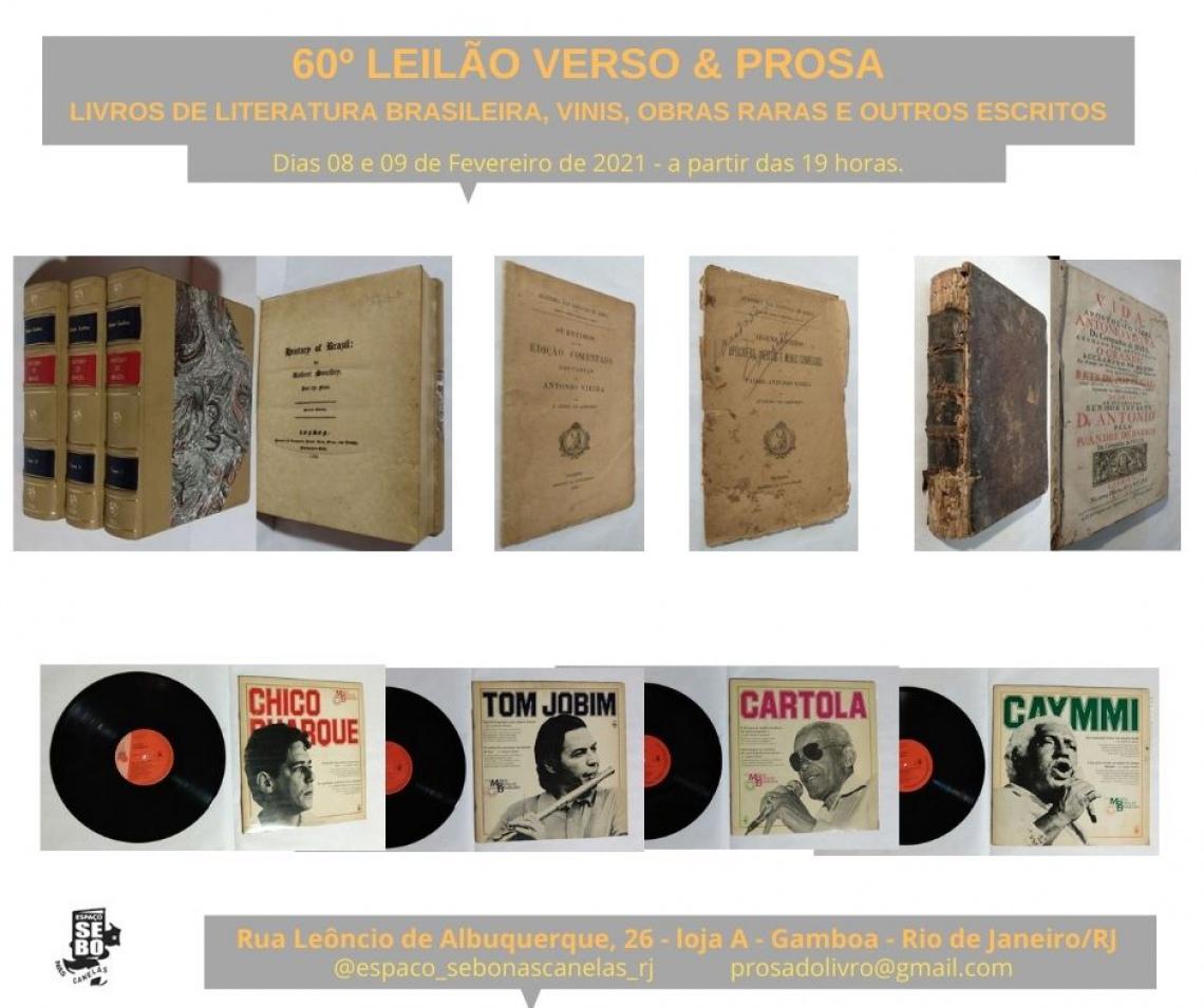 60º LEILÃO VERSO & PROSA - LIVROS DE LITERATURA BRASILEIRA, VINIS, OBRAS RARAS E OUTROS ESCRITOS