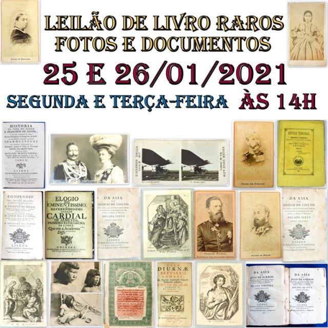 LEILÃO DE LIVROS RAROS, FOTOS E DOCUMENTOS
