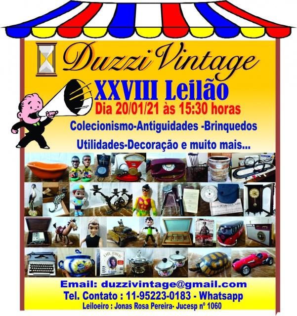 XXVIII LEILÃO DUZZIVINTAGE- Colecionismo,antiguidades,brinquedos, utilidades e muito mais...