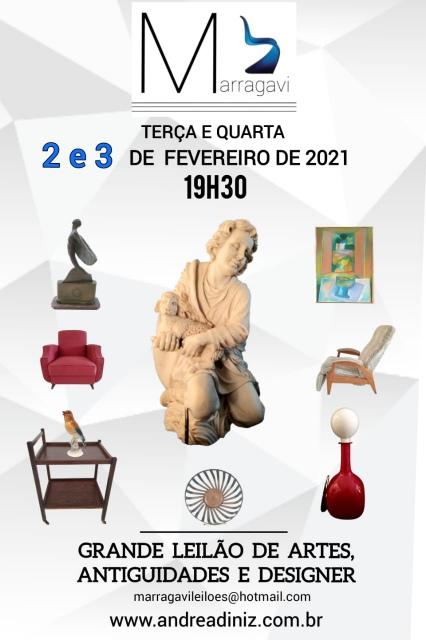 GRANDE LEILÃO DE ARTES, ANTIGUIDADES E DESIGNER - MARRAGAVI
