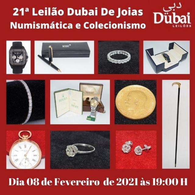 21º LEILÃO DUBAI DE JOIAS, NUMISMÁTICA E COLECIONISMO.