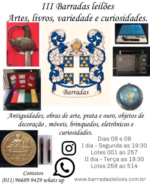 III Barradas Leilões - Artes, Livros, antiguidades, variedade e curiosidades