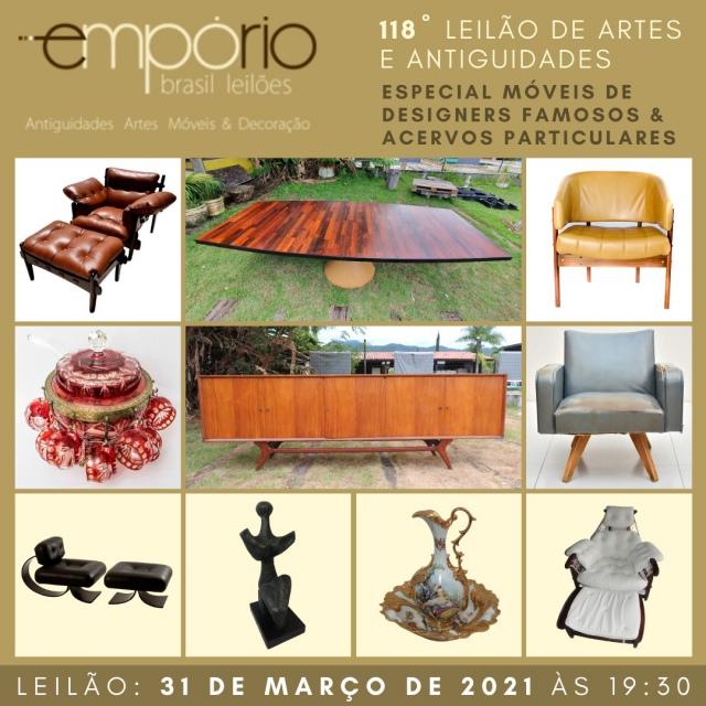 118º Leilão de Artes & Antiguidades - Especial Móveis de Designers Famosos & Acervos Particulares!!!