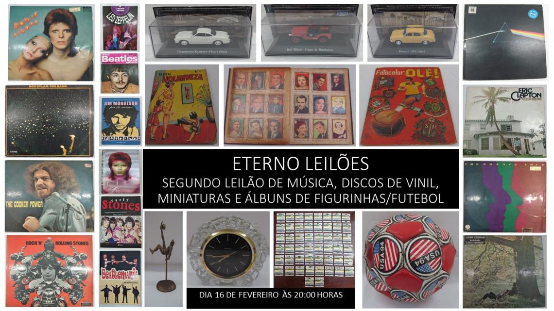 SEGUNDO LEILÃO DE MÚSICA, DISCOS DE VINIL, MINIATURAS E ÁLBUNS DE FIGURINHAS/FUTEBOL