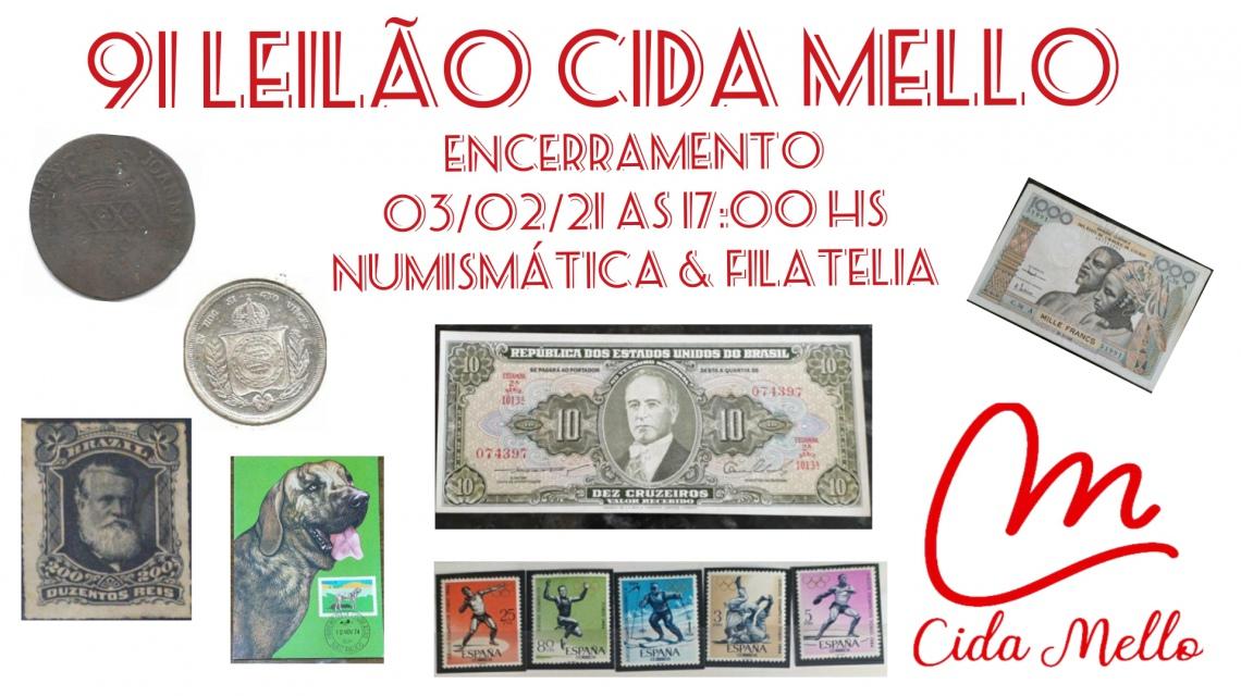 91º LEILÃO CIDA MELLO NUMISMÁTICA E FILATELIA