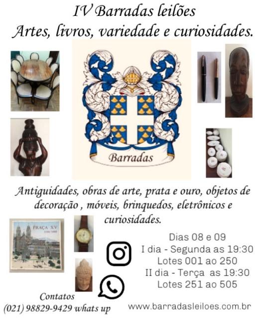 IV Barradas Leilões - Artes, Livros, antiguidades, variedade e curiosidades