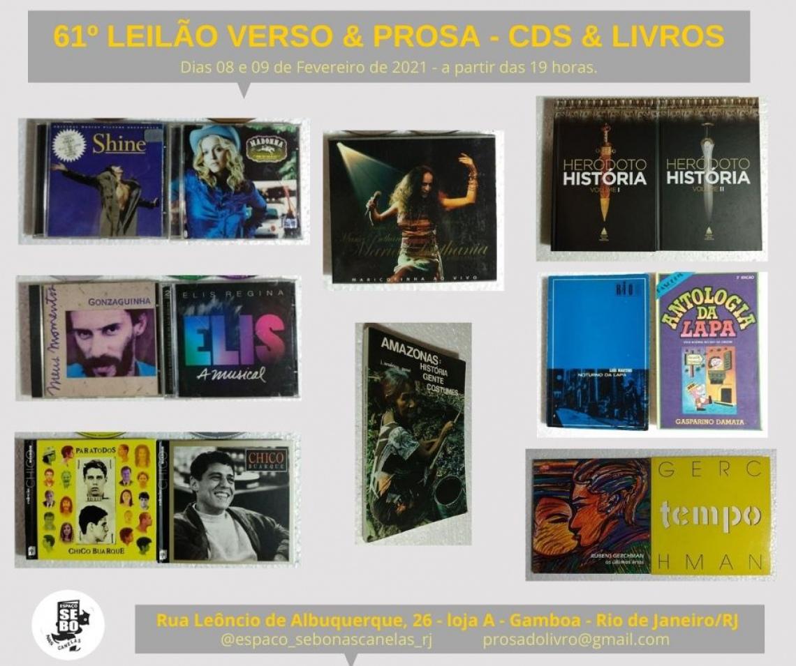 61º LEILÃO VERSO & PROSA - CDS E LIVROS