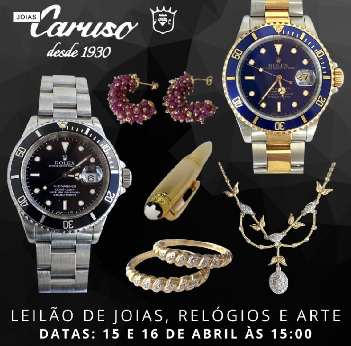 23º LEILÃO DE JOIAS RELÓGIOS E OBJETOS DE ARTE E DECORAÇÃO - JOIAS CARUSO