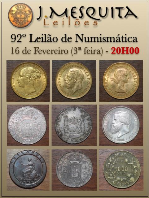 92º LEILÃO J.MESQUITA  - LEILÃO ESPECIAL DE MOEDAS DE OURO, PRATA ESTRANGEIRAS E DO BRASIL