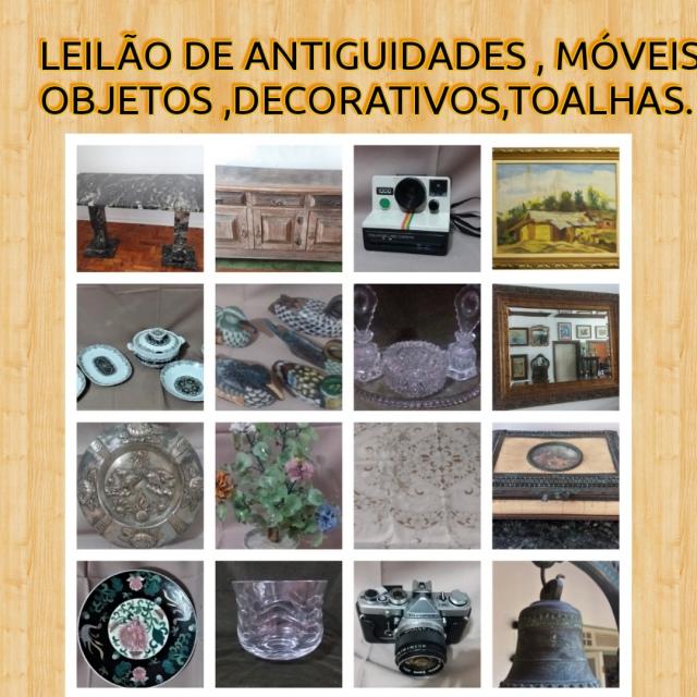 LEILÃO DE ANTIGUIDADES , TOALHAS ,MÓVEIS , VARIEDADES , OBJETOS DECORATIVOS.