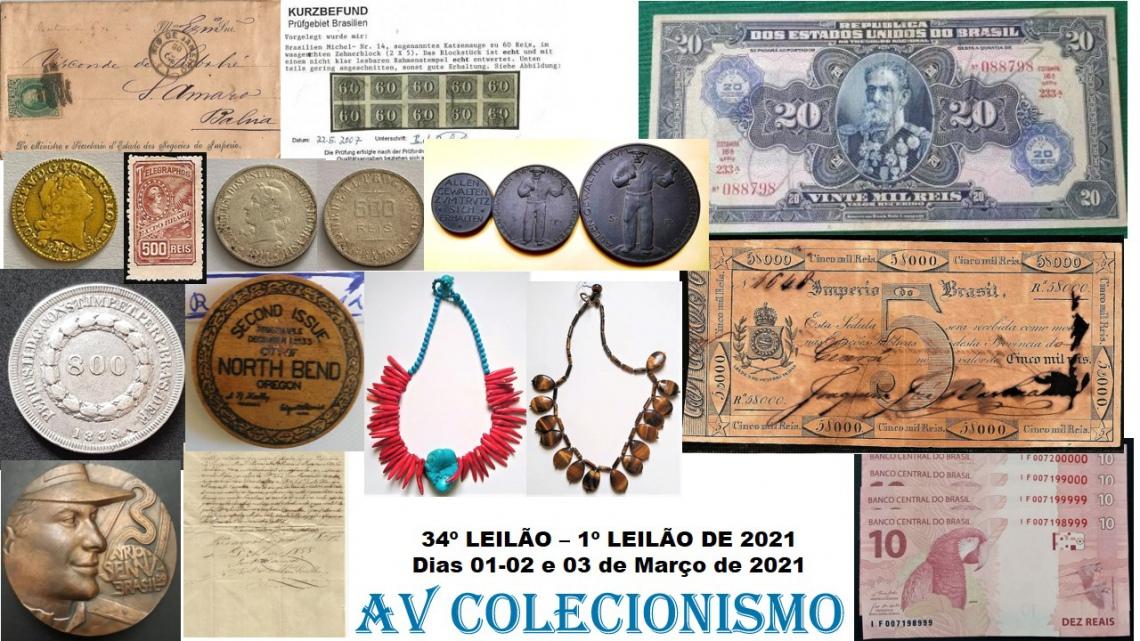 34º Leilão - AVCO - Filatelia  - Numismática - Colecionáveis