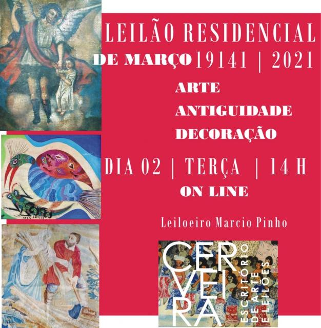 LEILÃO DE MARÇO |19141 | 2021|  OPORTUNIDADES EM ARTE, ANTIGUIDADES E DECORAÇÃO