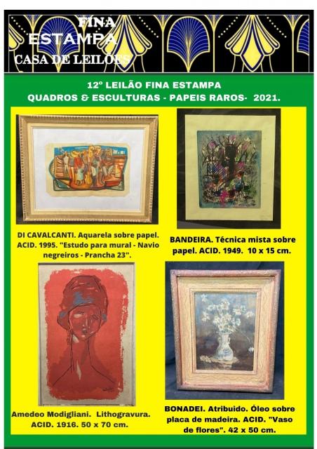12º LEILÃO FINA ESTAMPA - Esculturas, quadros e papéis raros  - TEL: (21) 3852-2823