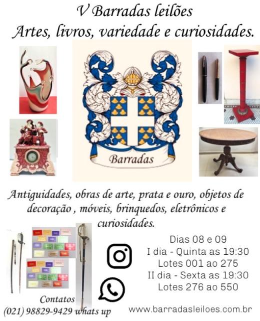 V Barradas Leilões - Artes, Livros, antiguidades, variedade e curiosidades