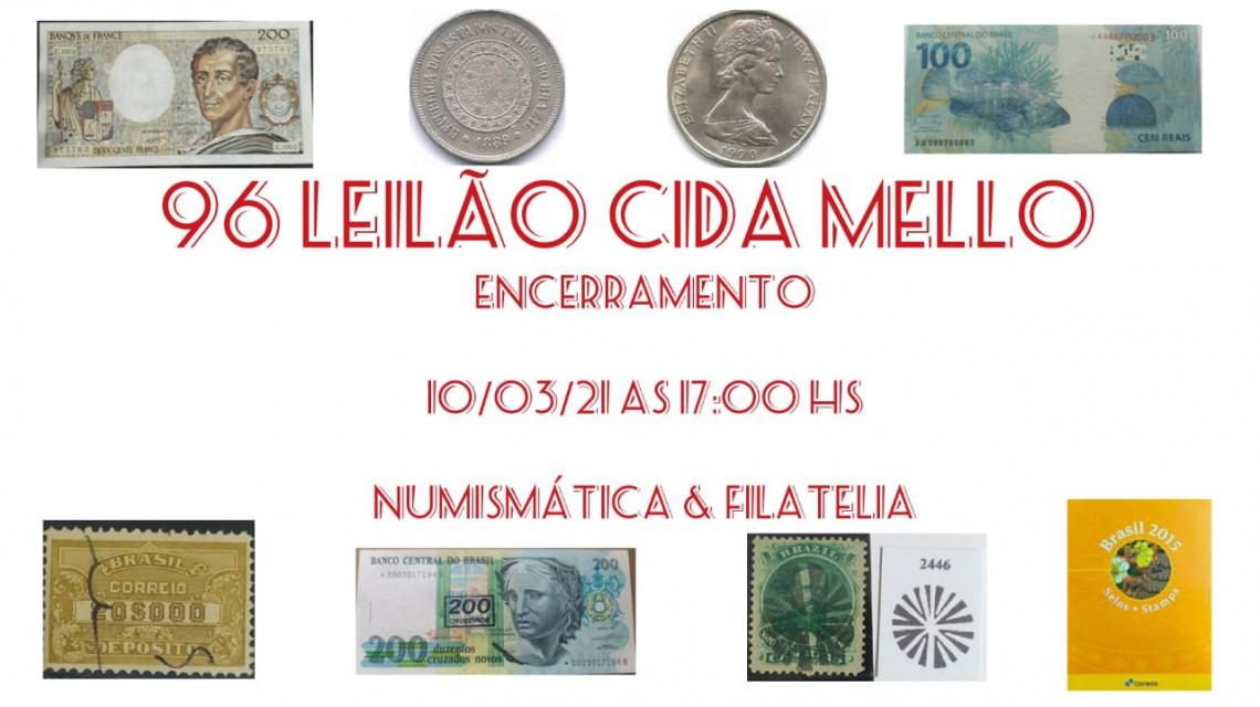 96º LEILÃO CIDA MELLO NUMISMÁTICA E FILATELIA