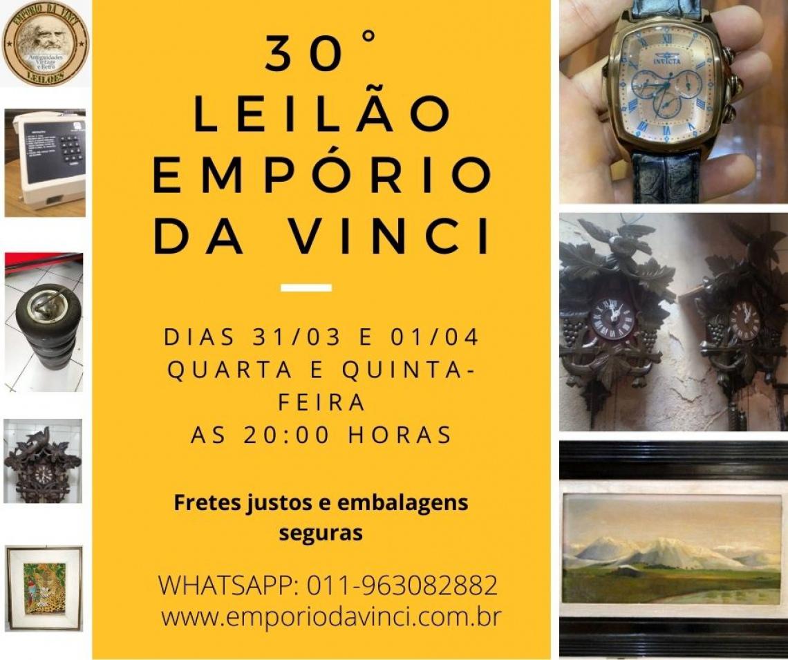 30º Leilão do Empório da Vinci. Relógios raros de Parede, Antiguidades, Cacarecos & Oportunidades.