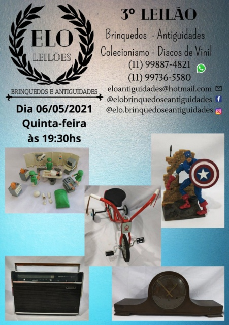 3º Leilão de Brinquedos antigos, Antiguidades, Discos de Vinil, Vídeo games e Colecionismo.