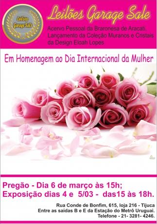 LEILÃO EM HOMENAGEM AO DIA INTERNACIONAL DA MULHER