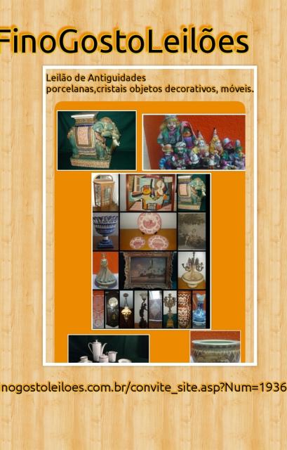 LEILÃO DE ARTE E ANTIGUIDADES,PORCELANAS,CRISTAIS,OBJETOS DECORATIVOS,E MÓVEIS.