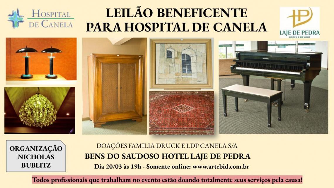 LEILÃO BENEFICENTE HOSP. DE CANELA - DOAÇÃO BENS DO HOTEL LAJE DE PEDRA - FAMÍLIA DRUCK E LDP CANELA