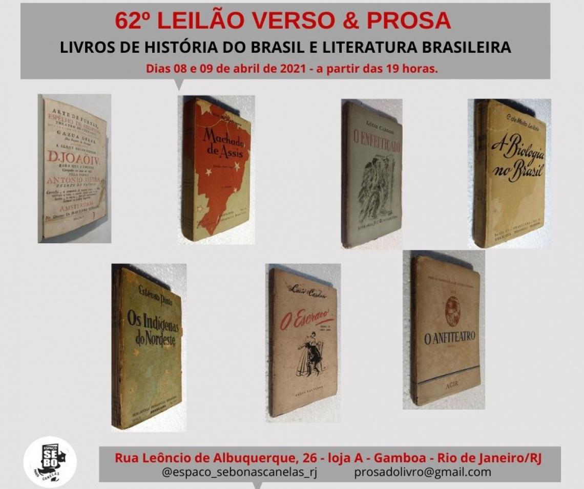 62º LEILÃO VERSO & PROSA - LIVROS DE HISTÓRIA DO BRASIL E LITERATURA BRASILEIRA