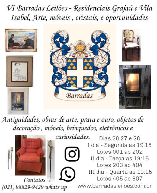 VI Barradas Leilões - Residenciais Grajaú e Vila Isabel, Arte, móveis , cristais, e oportunidades