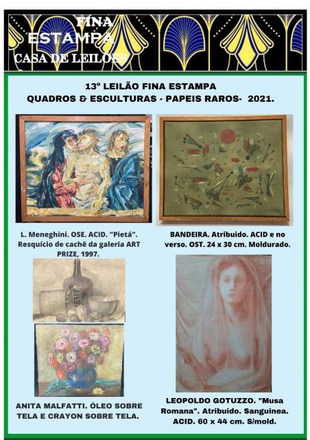 13º LEILÃO FINA ESTAMPA - Quadros, papéis raros. (21) 3852-2823 e ZAP (21) 97383-2987