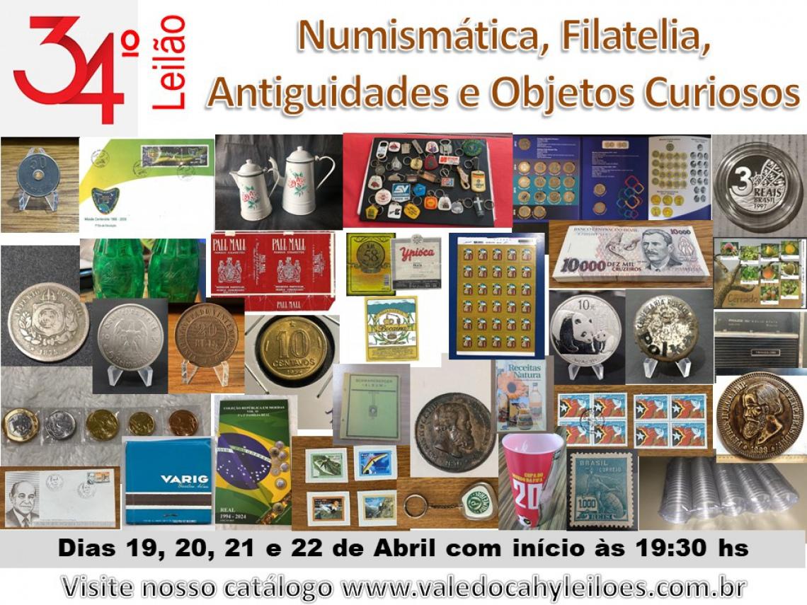 34º Grande Leilão de Numismática, Filatelia, Antiguidades e Objetos Curiosos