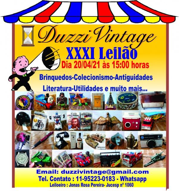 XXXI LEILÃO DUZZIVINTAGE - Colecionismo,Brinquedos, Antiguidades,Livros, Utilidades e muito mais...