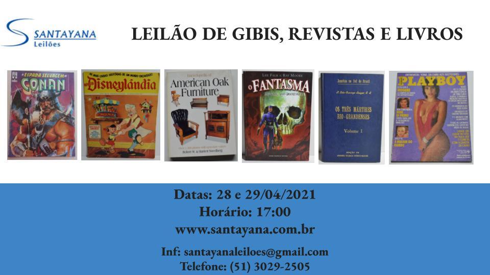 LEILÃO DE GIBIS, REVISTAS E LIVROS