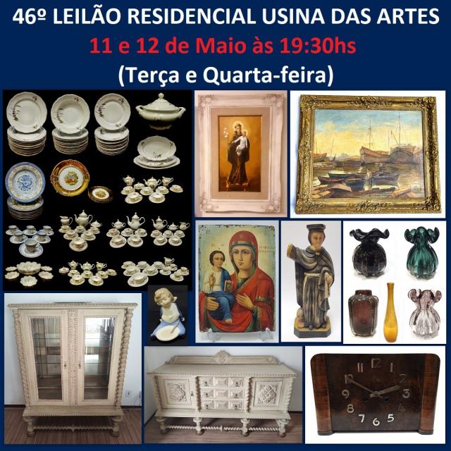 46º LEILÃO RESIDENCIAL CHALÉ DA USINA - COM PEÇAS DE ARTES, ANTIGUIDADES, COLECIONISMO E DECORAÇÃO