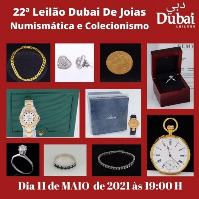 22º LEILÃO DUBAI DE JOIAS, NUMISMÁTICA E COLECIONISMO.