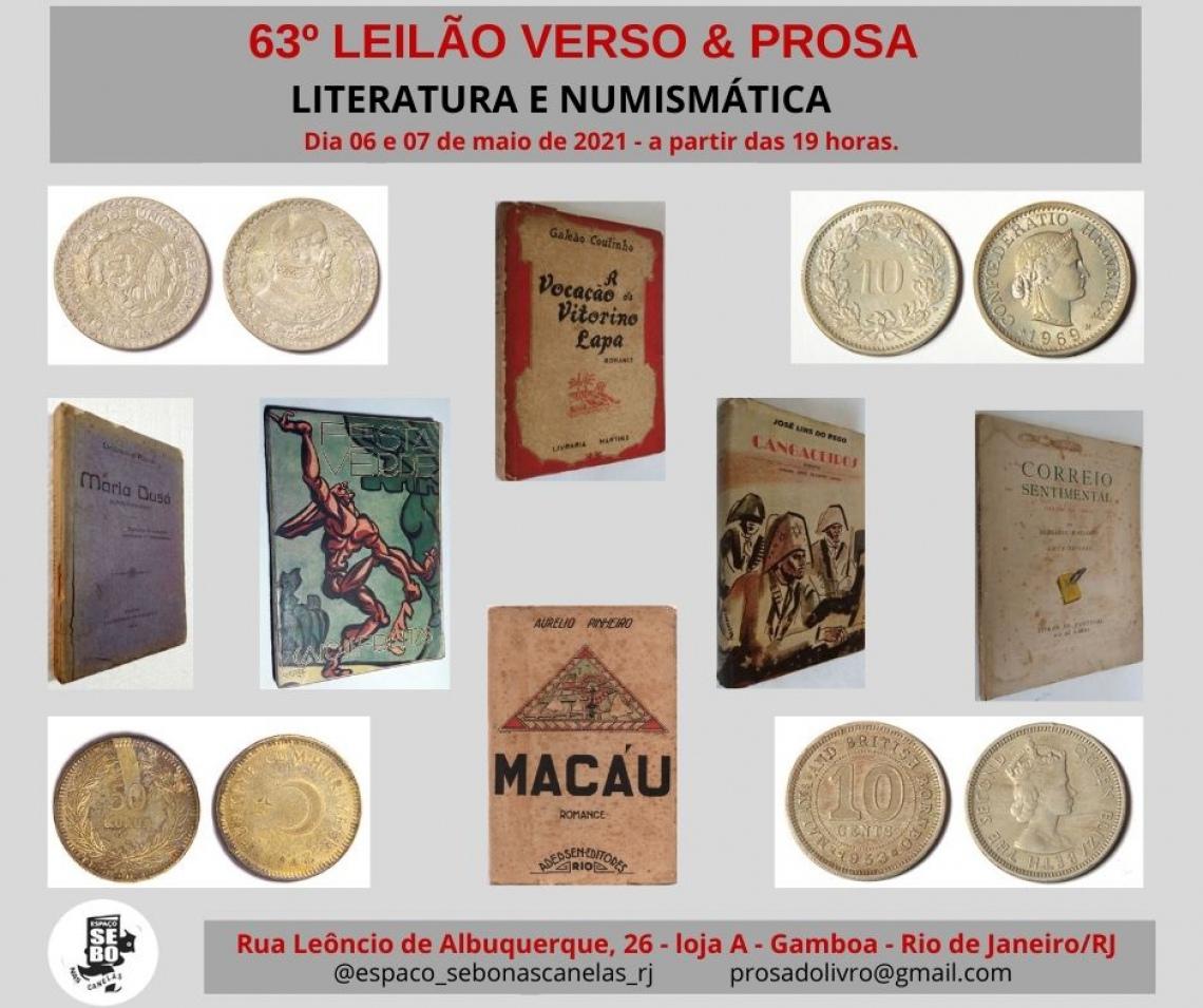 63º LEILÃO VERSO & PROSA - LITERATURA E NUMISMÁTICA