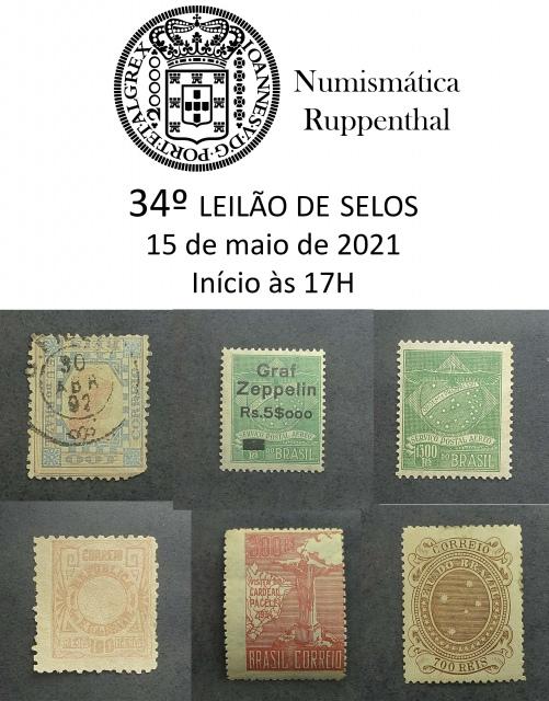 34º Leilão de Selos - Numismática Ruppenthal