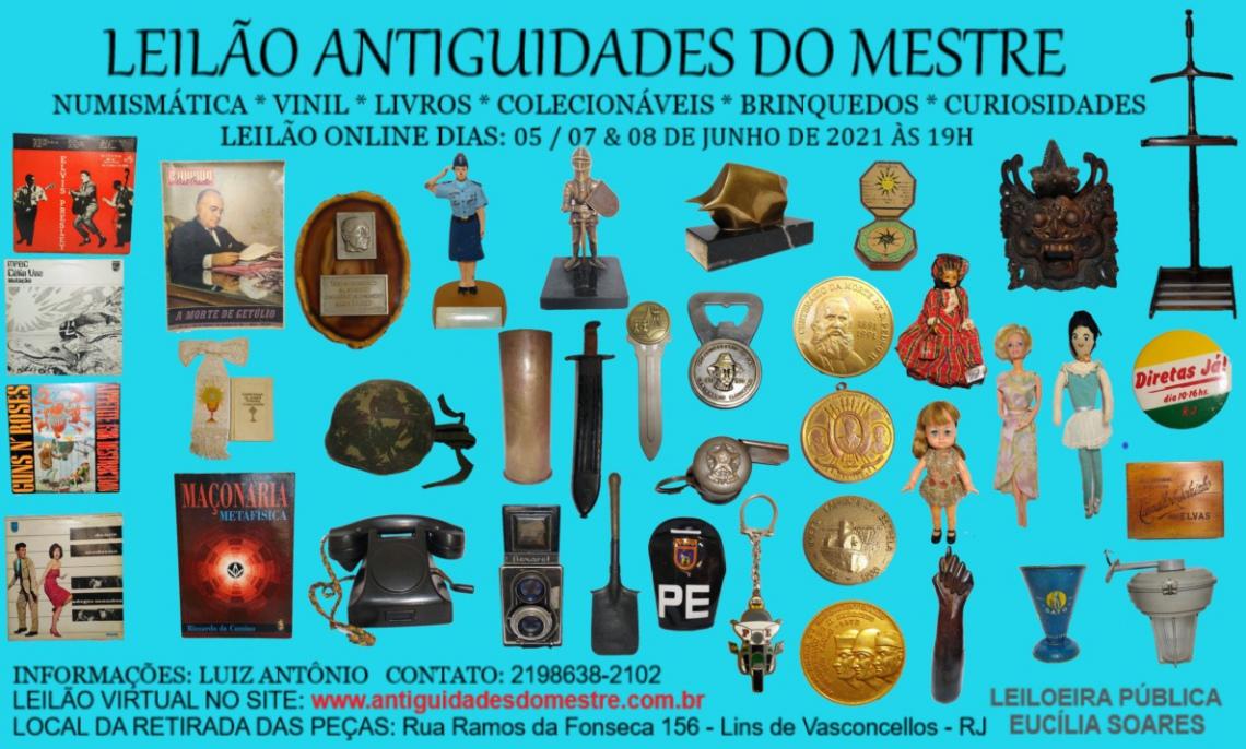 LEILÃO ANTIGUIDADES DO MESTRE - NUMISMÁTICA, VINIL, LIVROS, COLECIONÁVEIS, BRINQUEDOS E CURIOSIDADES