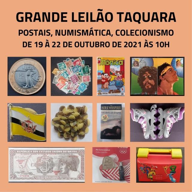 GRANDE LEILÃO DE POSTAIS, NUMISMÁTICA E COLECIONISMO.