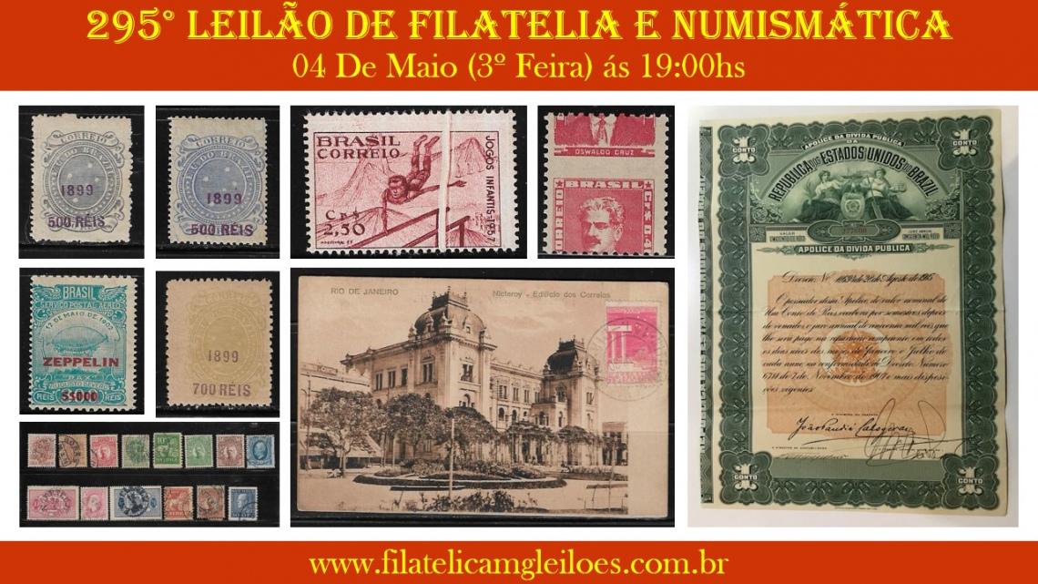 295º Leilão de Filatelia e Numismática