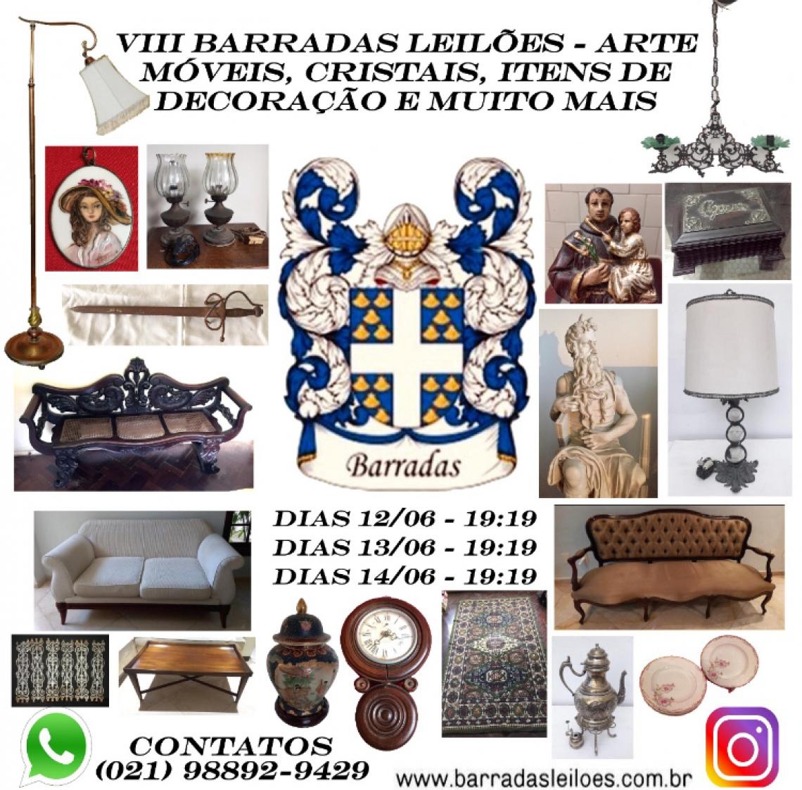 VIII Barradas Leilões - Arte, Móveis, Cristais, Itens de Decoração e muito mais
