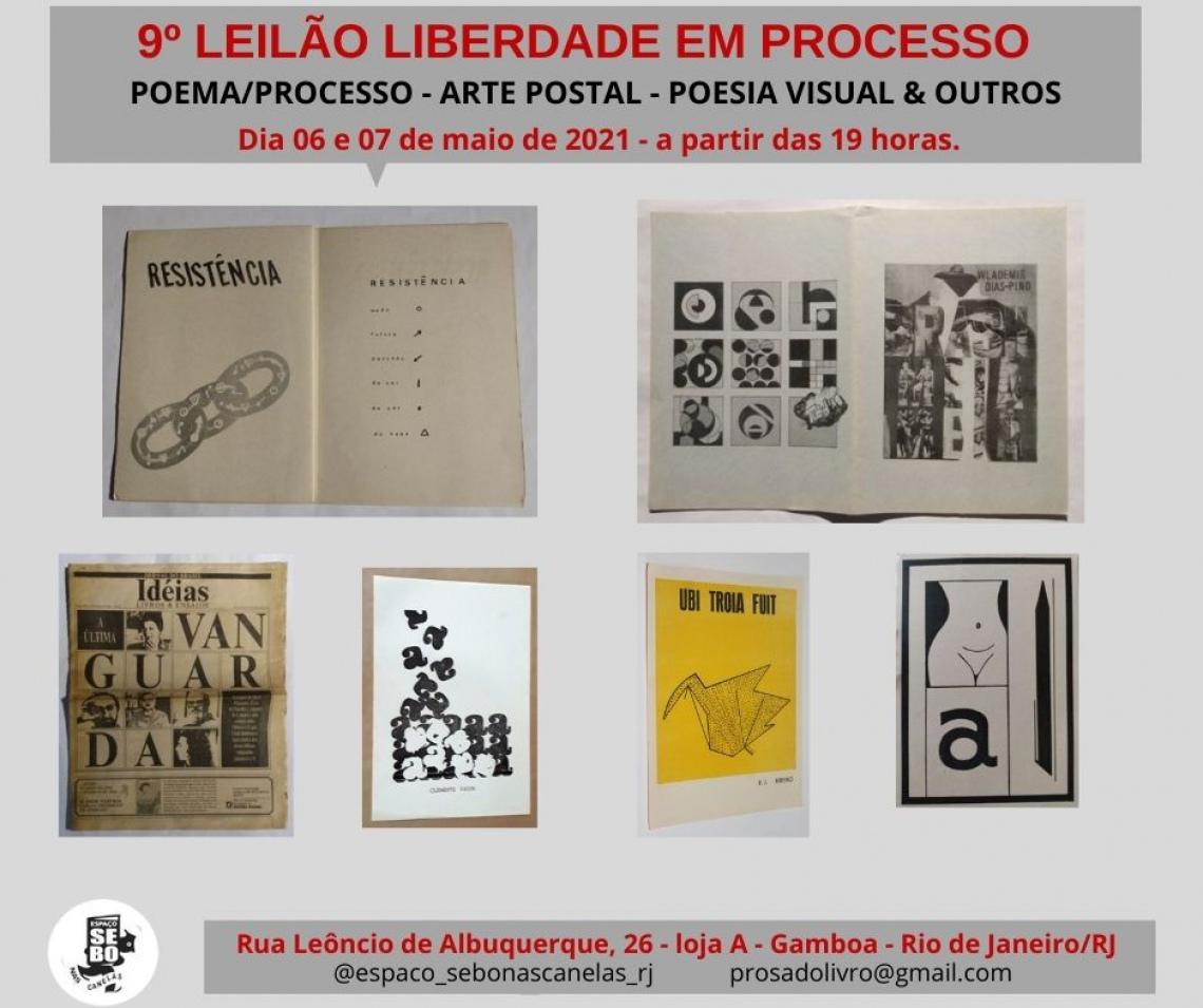 9º LEILÃO LIBERDADE EM PROCESSO - POEMA/PROCESSO - ARTE POSTAL - POESIA VISUAL  & OUTROS