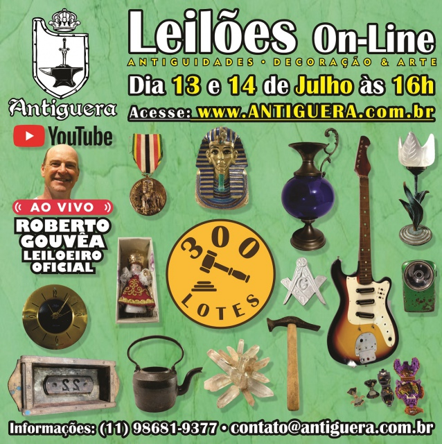 LEILÃO DE ANTIGUIDADES, DECORAÇÃO E ARTE - 29/06/2021 - às 11h00 - 180 Lotes
