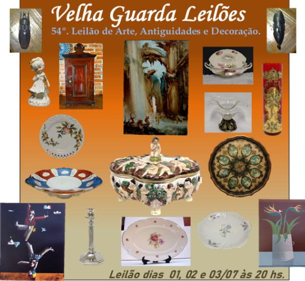 54º LEILÃO VELHA GUARDA LEILÕES - Arte, Antiguidades, Decoração e Colecionismo