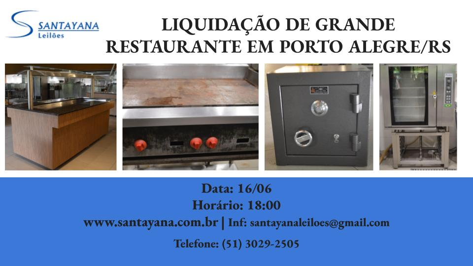 LIQUIDAÇÃO DE GRANDE RESTAURANTE EM PORTO ALEGRE/RS