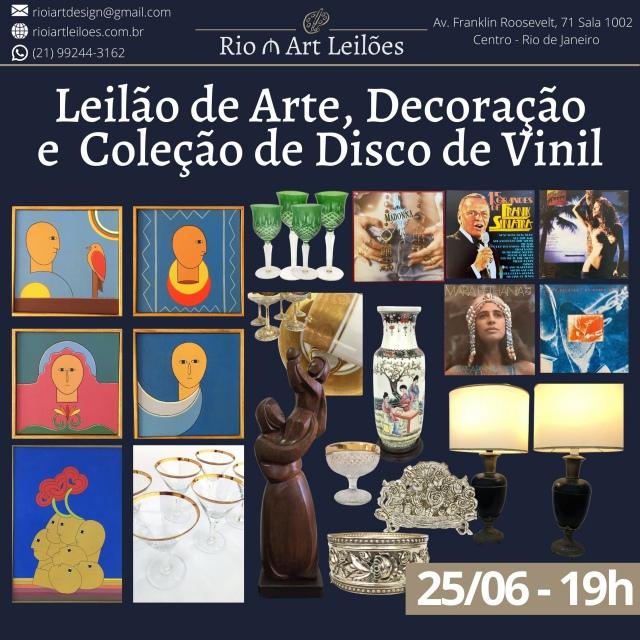 LEILÃO DE ARTE, DECORAÇÃO E COLEÇÃO DE DISCO DE VINIL - 25 DE JUNHO 2021
