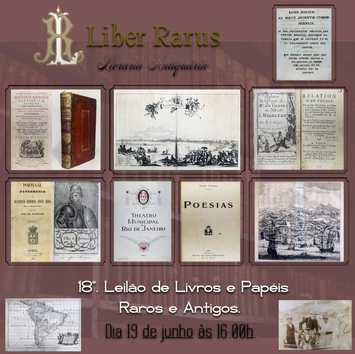 18º Leilão de Livros e Papéis Raros e Antigos - Liber Rarus - 19/06/2021 - 16h00
