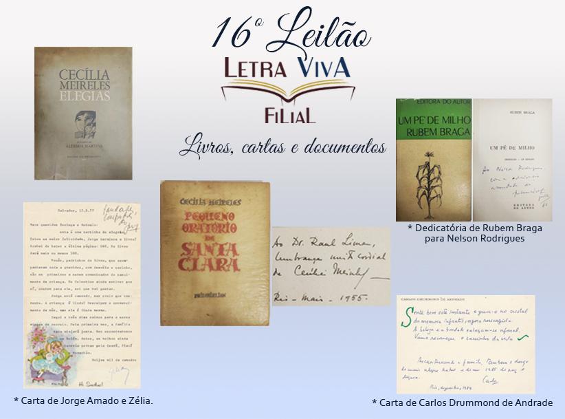 16º LEILÃO LETRA VIVA FILIAL - LIVROS AUTOGRAFADOS, CARTAS E DOCUMENTOS